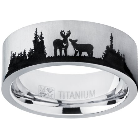 Men's Outdoor Hunting Titanium Ring Wedding Band with Laser Etched Deer Stag Scene 8mm