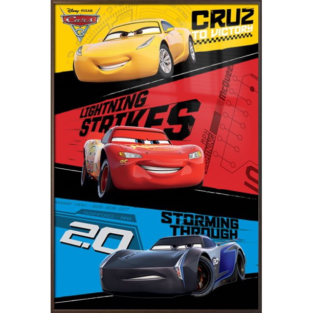 Cars 3 Framed Pixar Disney Movie Poster Print Trio