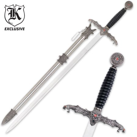 Dragons Lair Templar Long Sword & Scabbard, 23 7/8 stainless steel blade By K EXCLUSIVE From USA