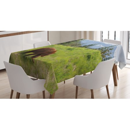 Bear Tablecloth, Wildlife up in the Mountains Theme Furry Animal Carnivore Yellowstone Nature Habitat, Rectangular Table Cover for Dining Room Kitchen, 52 X 70 Inches, Green Brown, by Ambesonne (Light Up Table Cloth)