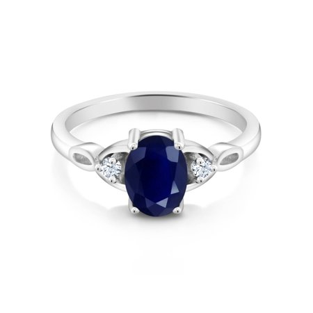 1.85 Ct Oval Blue Sapphire 925 Sterling Silver Ring - image 1 of 3