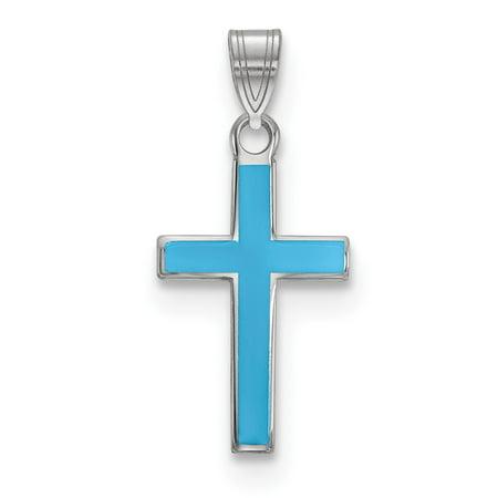 Mia Diamonds 925 Sterling Silver Rhodium-Plated Blue Enameled Cross Charm
