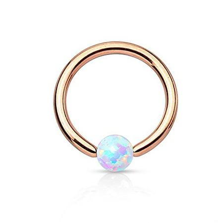 BodyJ4You Captive Ring Bead Rose Goldtone Opal Ball Daith Cartilage 16G Piercing Body (Ball Captive Ring)