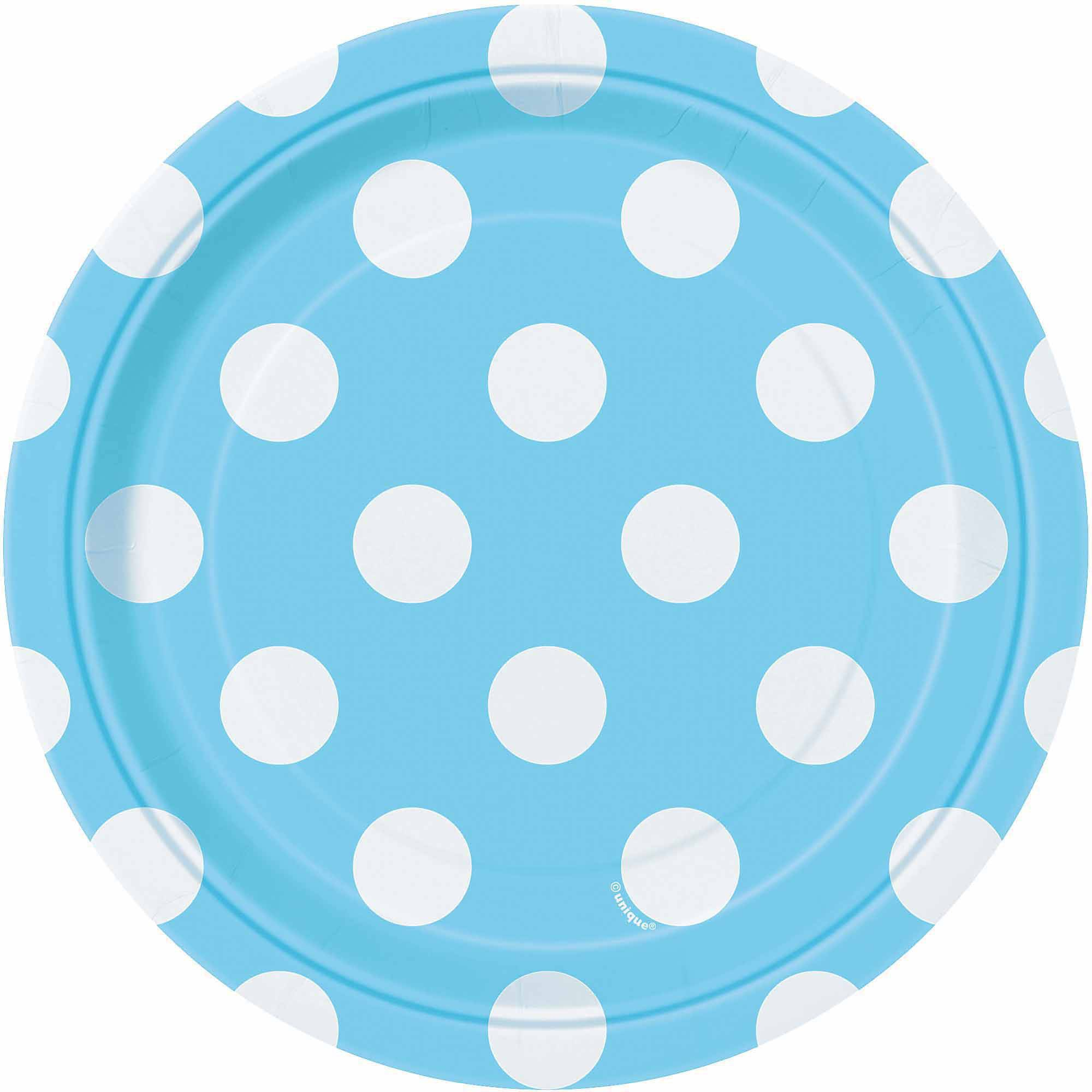 "7"" Polka Dot Paper Dessert Plates, Light Blue, 8ct"