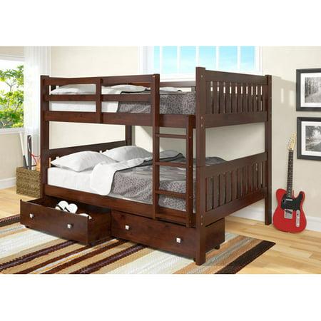 Harriet Bee Beeney Full Over Full Bunk Bed With Storage Walmart Com