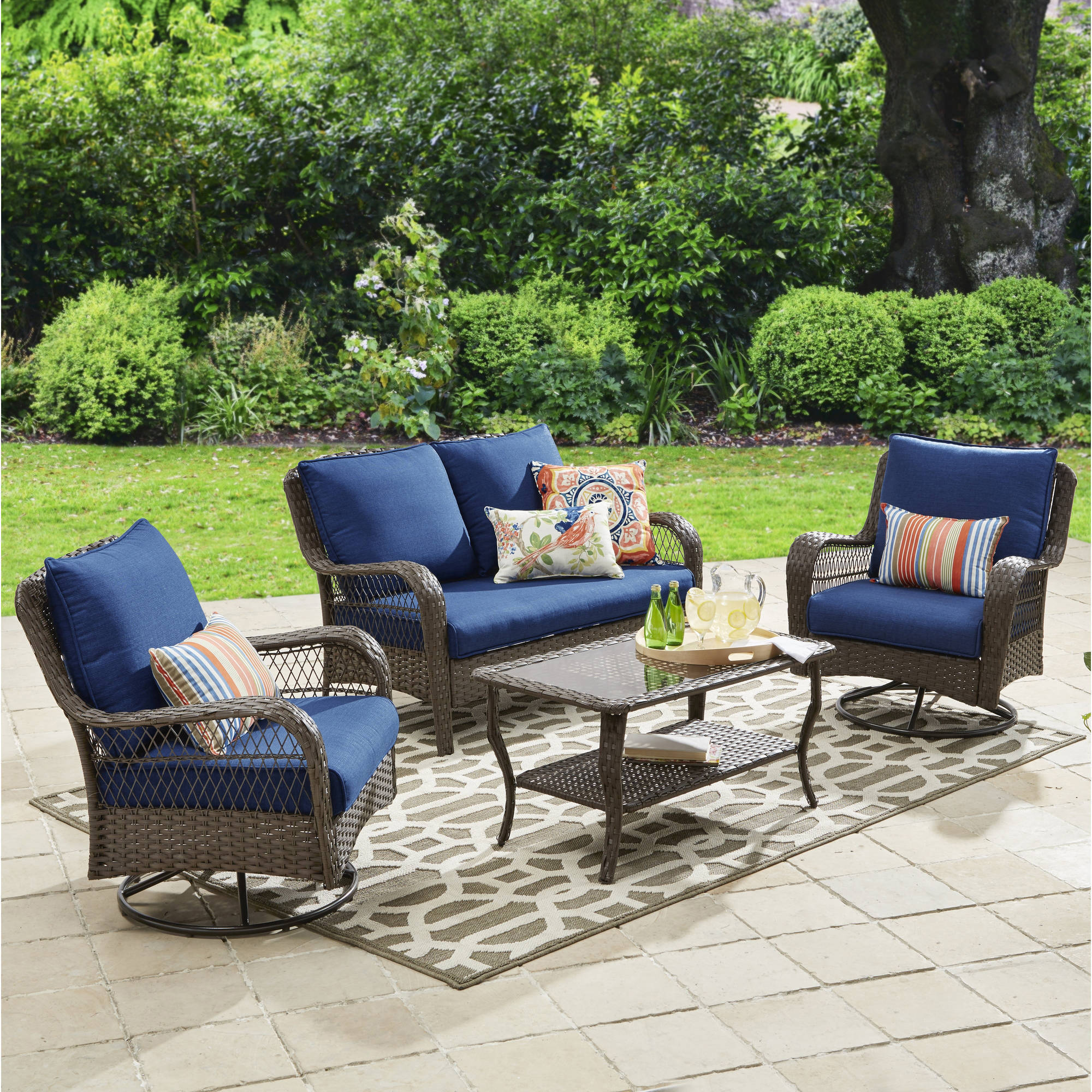 Better Homes and Gardens Colebrook 4 Piece Outdoor Conversation Set, Seats 5 Blue