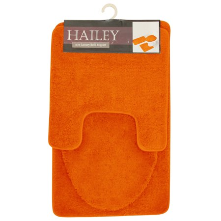 (Hailey 3 Piece Bathroom Rug Set, Bath Mat, Contour Rug, Toilet Seat Lid Cover [Orange])