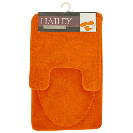 Hailey 3 Piece Bathroom Rug Set, Bath Mat, Contour Rug, Toilet Seat Lid Cover (Model Home Bathroom)