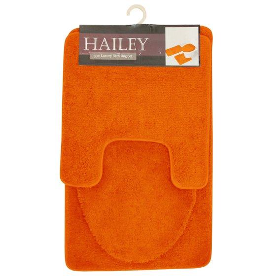 Hailey 3 Piece Bathroom Rug Set, Bath Mat, Contour Rug, Toilet ...