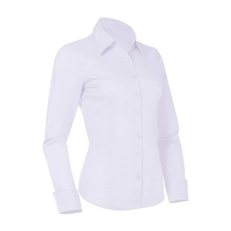 f853365fb55def Pier 17 - Pier 17 Button Down Shirts for Women, Fitted Long Sleeve Tailored Shirt  Blouse (Small, White) - Walmart.com