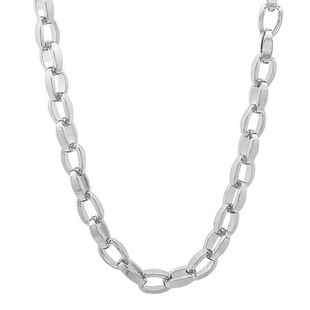 Solid Stainless Steel 4.5mm Rounded Box Link Open Style Chain Necklace + Microfiber Jewelry Polishing Cloth