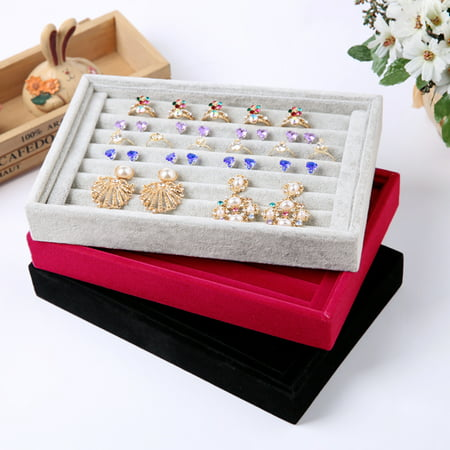 VBESTLIFE Jewelry Ring Earring Display Velvet Box Tray Case Organiser Holder Storage Gifts,jewellery display storage box