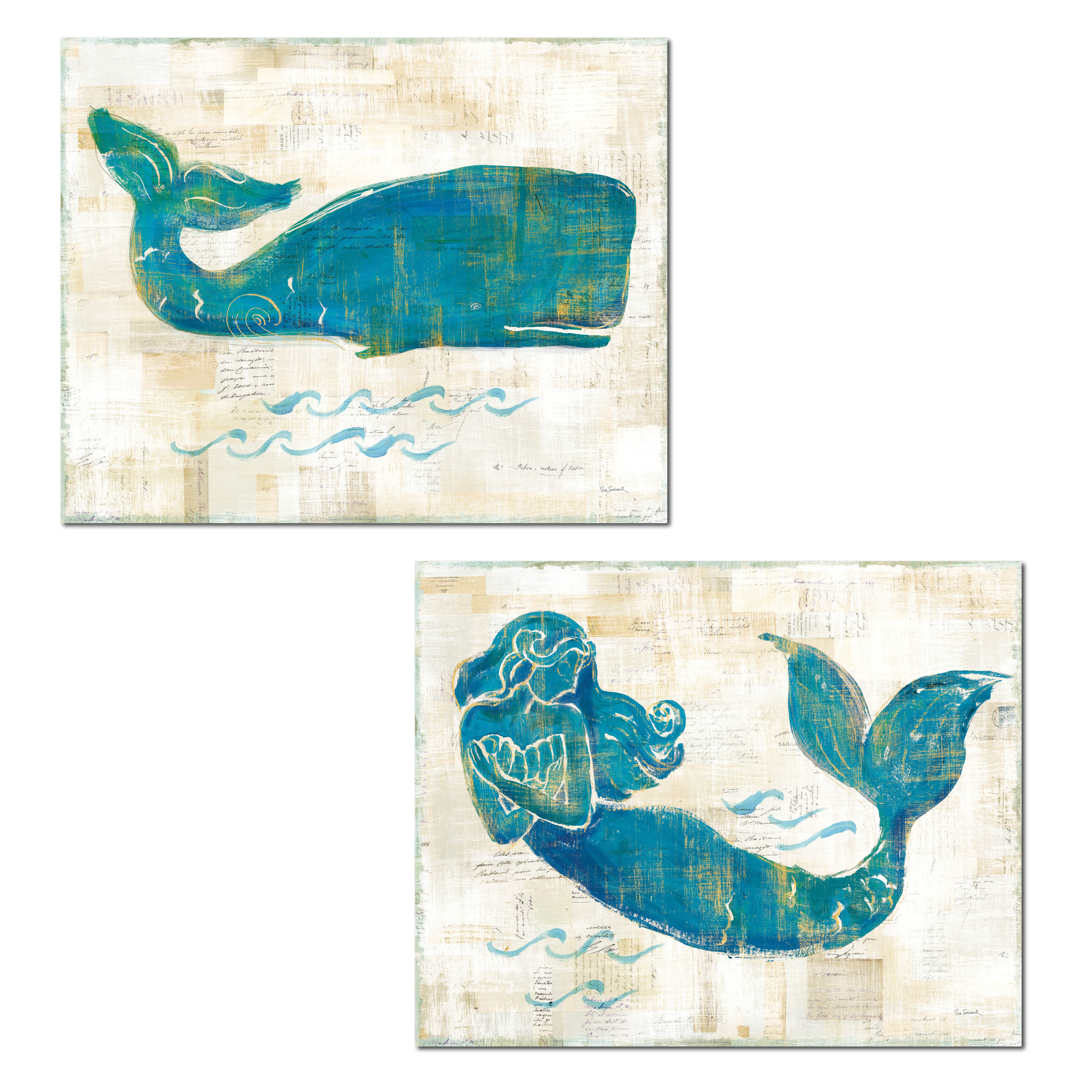 Lovely Nautical Turquoise and Cream Mermaid and Whale Ocean Set by Sue Schlabach; Coastal Decor; Two 14x11in Unframed Paper Posters