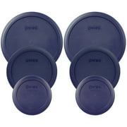 Pyrex Replacement Lid (2) 7200-PC 2-Cup, (2) 7201-PC 4-Cup, and (2) 7402-PC 6/7-Cup Round Blue Cover Combo