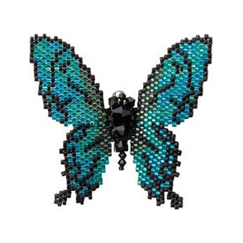 Create Your Own DIY Miyuki Glass Bead Brooch Kit - Lazuline Butterfly