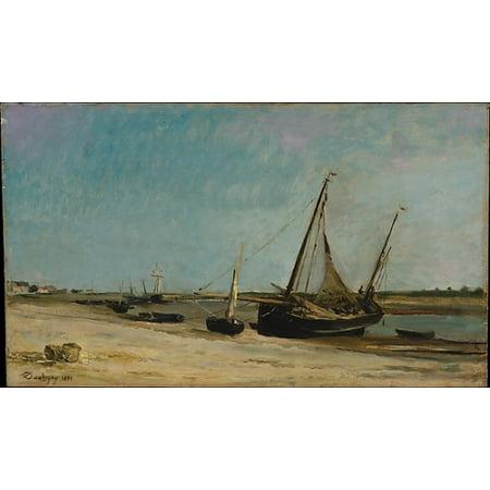 Boats On The Seacoast At Etaples Poster Print By Charles Francois Daubigny  18 X 24