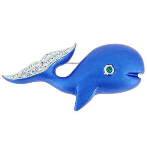 Fantasyard Silvertone Enamel and Gemstone Blue Whale Pin Brooch by Overstock