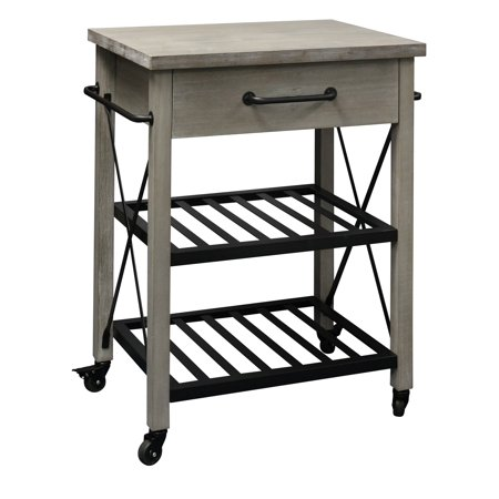 - Rustic Kitchen Cart Solid Pine Wood Top with Metal Base and 1 Drawer and Racks