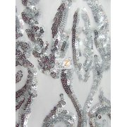 Victorian Sequins Evening Dress Fabric / Silver / Sold By The Yard