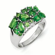 Cheryl M Sterling Silver Simulated Emerald Ring