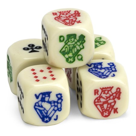 Set of 5 Poker Dice, Great for Travel by, Cut the deck, literally, with poker dice! All the excitement, luck, and fun of poker, pocket-sized By