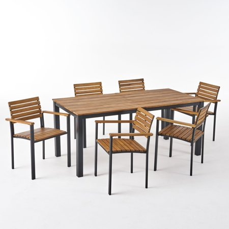 Veromca Outdoor 6 Seater Wood and Iron Dining Set, Teak and Black