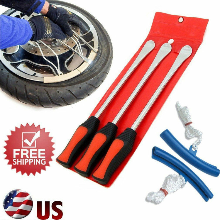Motorcycle Tire Iron Spoon Set Lever Tires Rim Changing Protector Tool Combo NEW