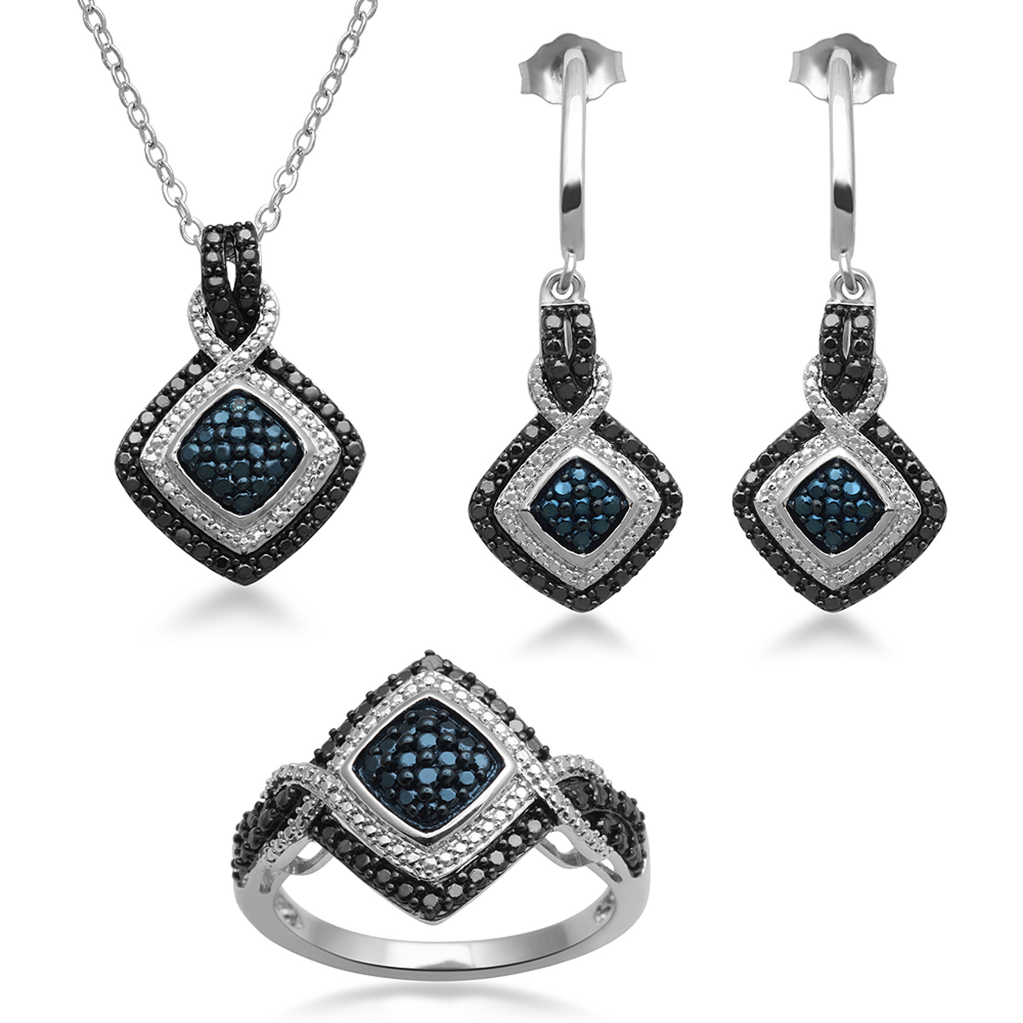 Blue and White Diamond Accent 3-Piece Silver Plated Brass Boxed Jewelry Set