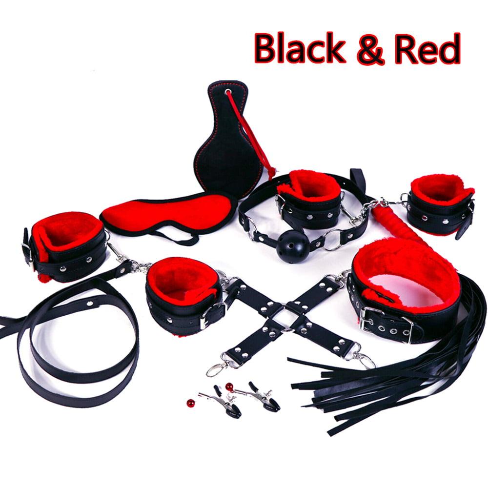 SM-Game-Suit-Adult-Handcuffs-Ball-Whip-Kit-Bondage-Set-Couple-Sex-Toys-7//10PCS