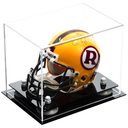 Football Helmet Display Case (Deluxe Clear Acrylic MINI - Miniature (not full size) Football Helmet Display Case with White Risers (A003-WR) )