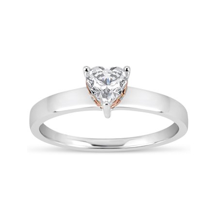8fdccbc8c 5mm White Heart Swarovski CZ Sterling Silver Two-Tone Rhodium and 18kt Rose  Gold-Plated Filigree Sides Gradual Shank Ring - Walmart.com