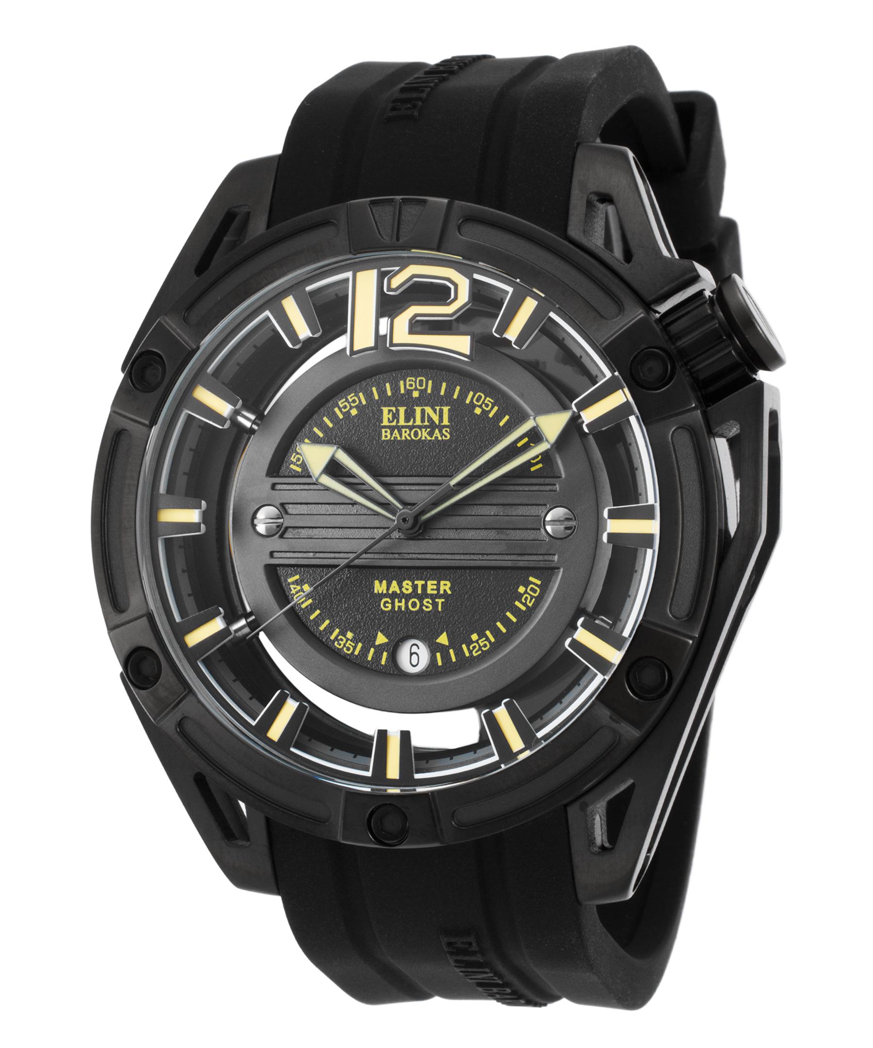 Elini Barokas 20016-Bb-01-Ya Master Ghost Black Silicone, Dial & Ion Plated Ss Ylw Accents Watch