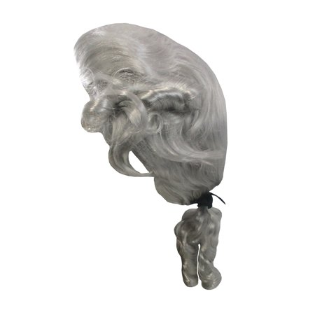 Funny Mens Wigs (Mens Colonial Mozarti White Curly Wig George Washington Pony Tail Faux)