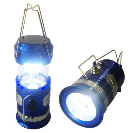 Solar Powered Camping Lantern, Solar LED Camp Light & Handheld Flashlight, Blue