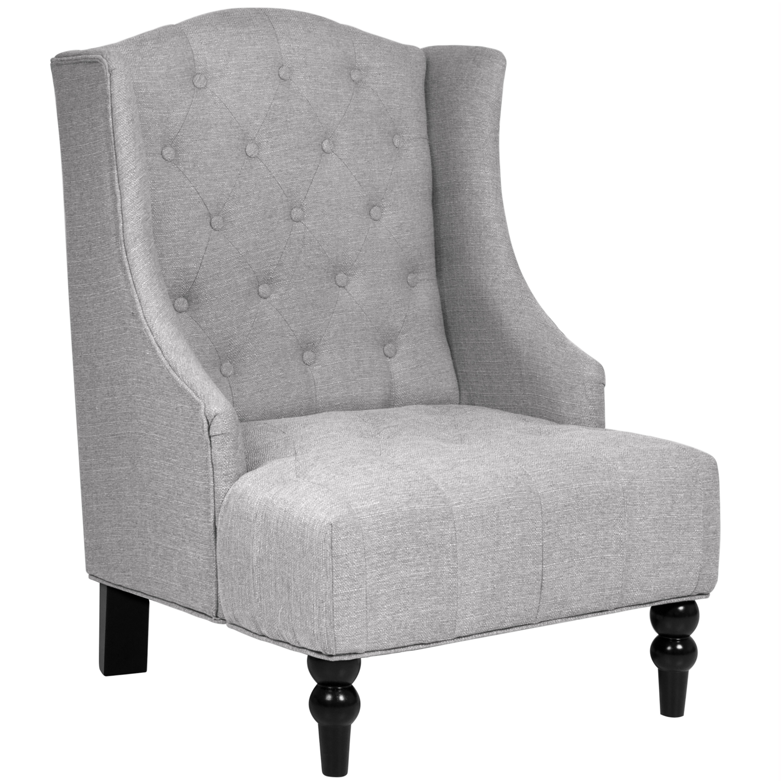 Best Choice Products Tall Wingback Tufted Fabric Accent Chair Gray by Best Choice Products