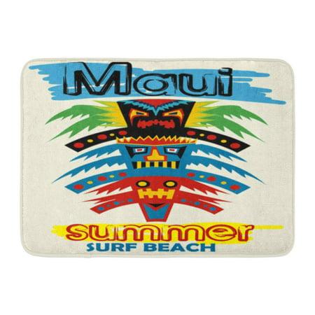 GODPOK Pole Hawaiian Maui Summer Surf Beach Cartoon Tikis Totem American Rug Doormat Bath Mat 23.6x15.7 inch