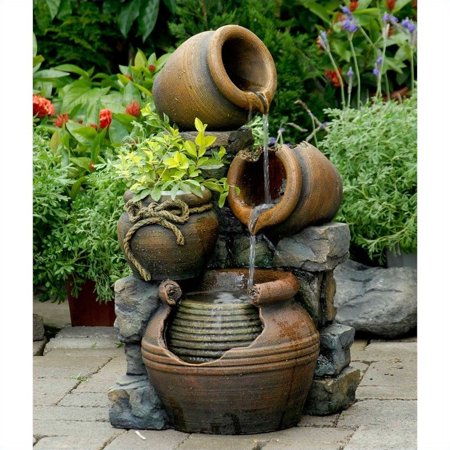 - Jeco Multi Pots Outdoor Water Fountain with Flower Pot