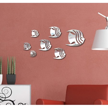 Costyle 3D Fish Shape Mirror Wall Stickers for Living Room Bedroom ...