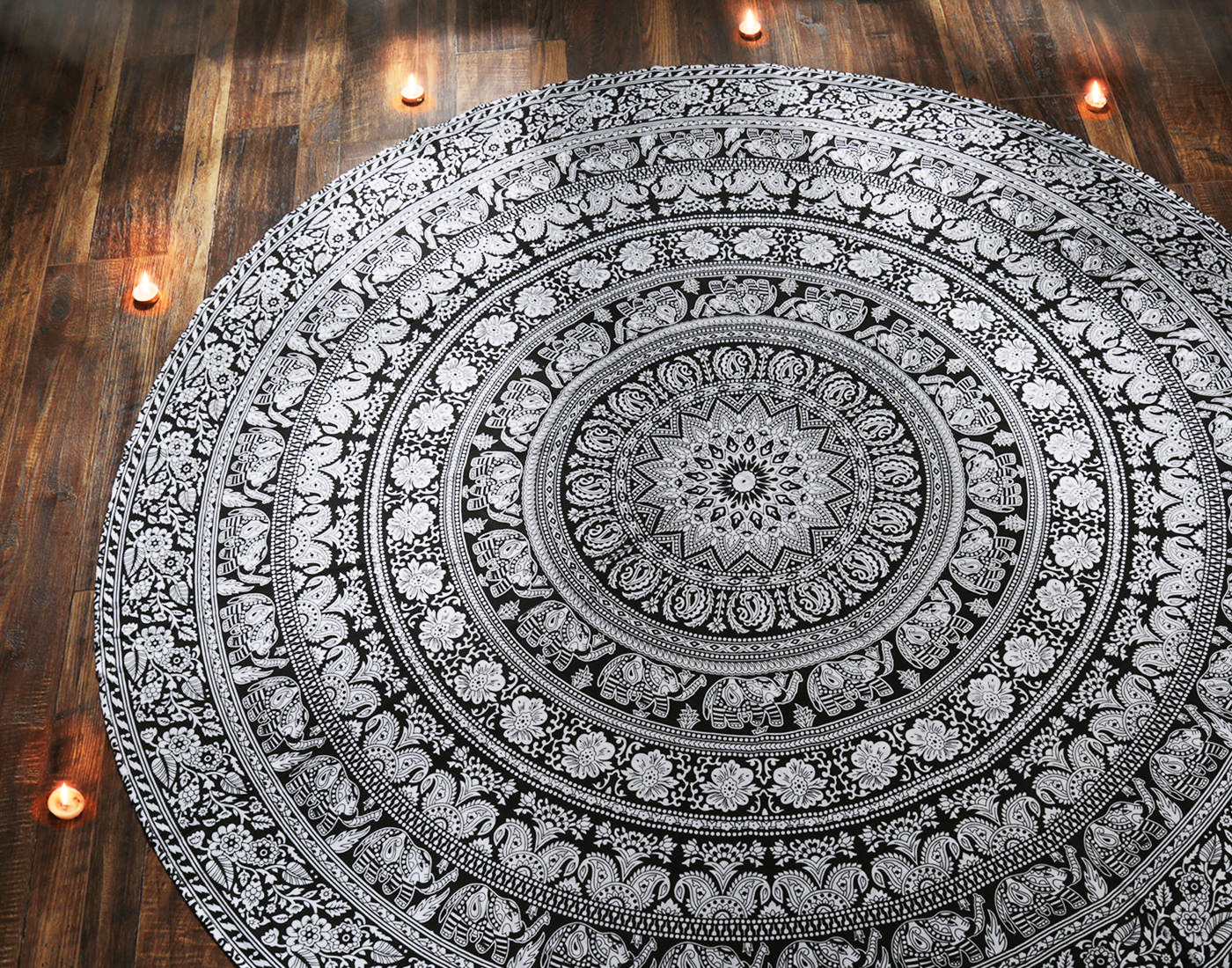 Black & White Elephant Mandala Hippie Tapestry Twin Indian Throw Beach College Dorm Bohemian Wall Hanging Boho BedSHeet... by Rajrang