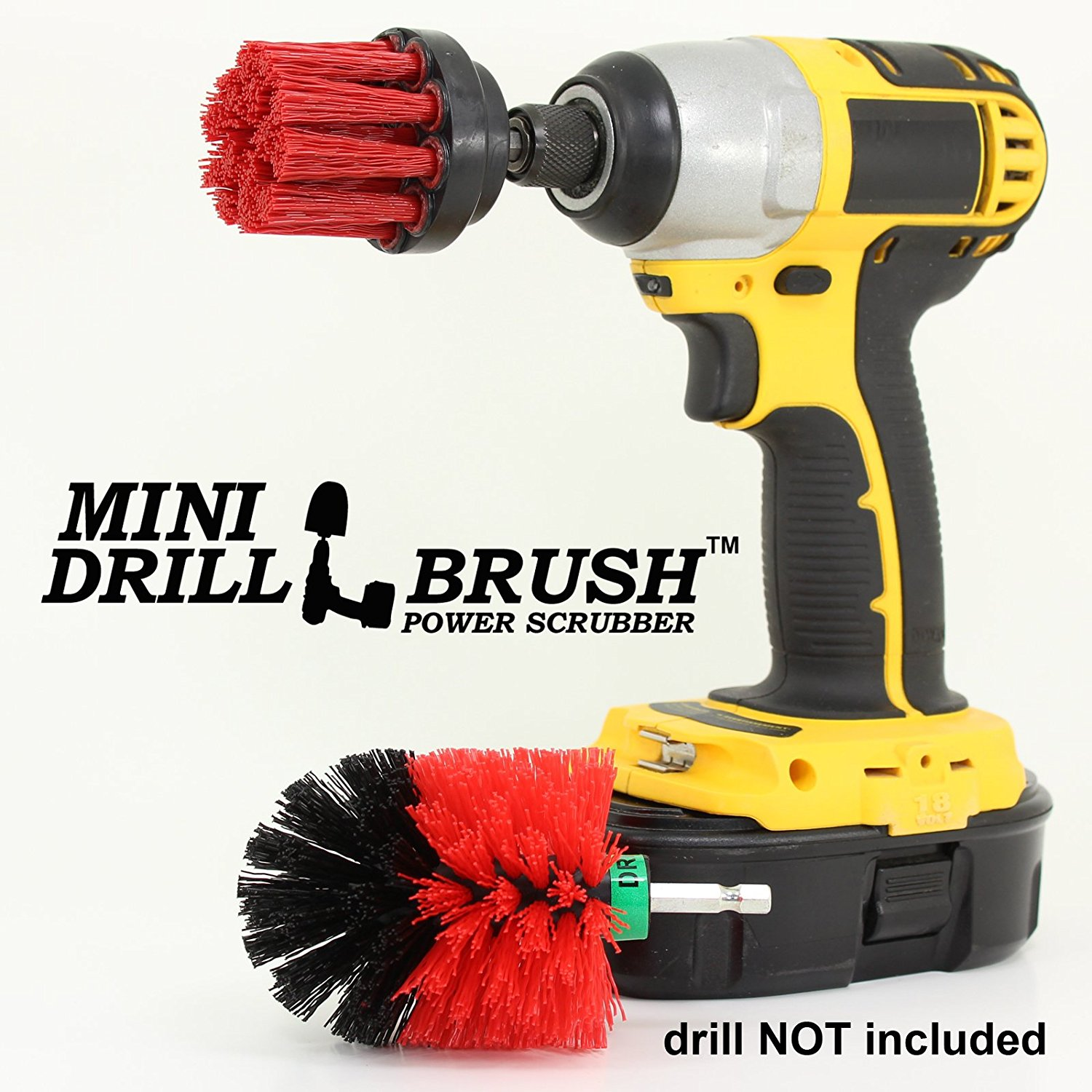 Mini Size Power Scrubber Stiff Scrub Brush 2inch Diameter Stiff Brush for Tight Spaces by Drillbrush
