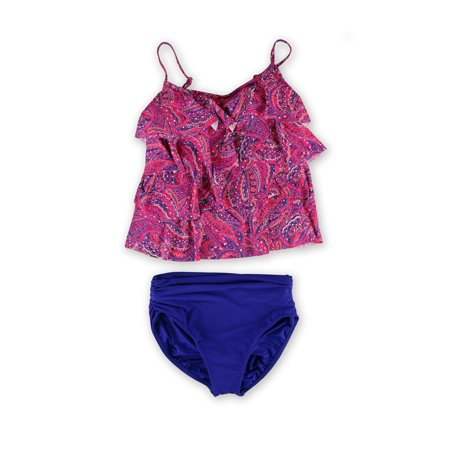 MiracleSuit Womens Paisley Ruched Brief 2 Piece Tankini coraltwilightblue 14