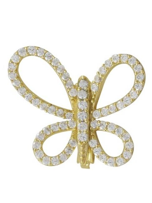 Dlux Jewels Gold Plated Sterling Silver Open Butterfly with White Cubic Zirconia Brooch & Pin by Dlux Jewels