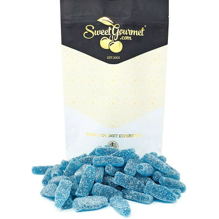 SweetGourmet Sour Blue Soda Bottles Blue Raspberry bulk candy for baby showers, candy buffets  15oz bag