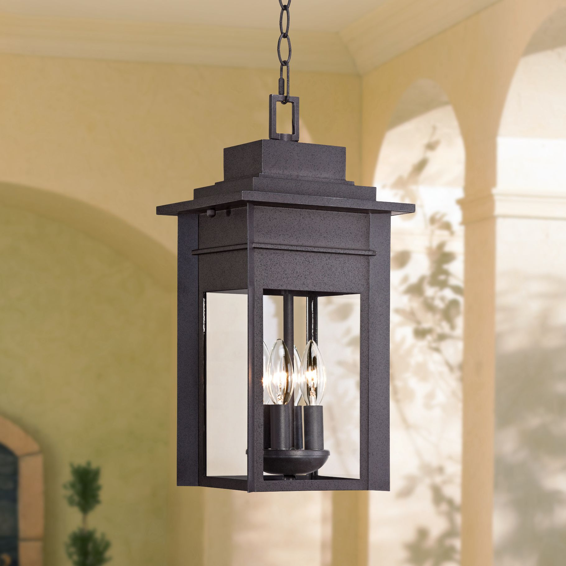 """Franklin Iron Works Outdoor Ceiling Light Hanging Lantern Black Specked Gray 17 1 2"""" Clear Glass for... by Franklin Iron Works"""