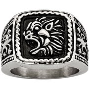 Stainless Steel Antiqued Lion Ring, Available in Multiple Sizes