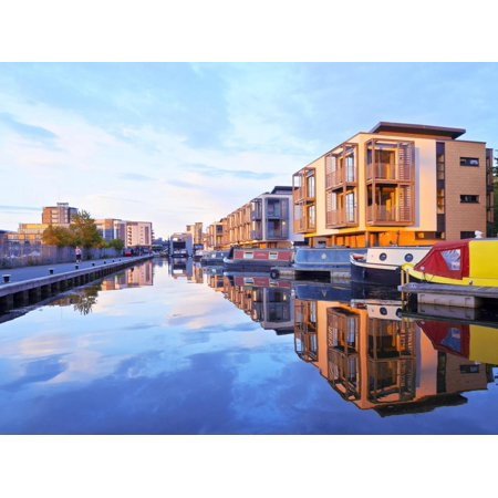 Union Canal - UK, Scotland, Lothian, Edinburgh, Edinburgh Quay and the Lochrin Basin, Boats on The Union Canal. Print Wall Art By Karol Kozlowski