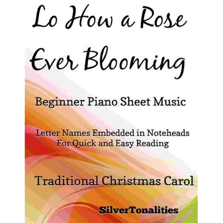 Lo How a Rose Ever Blooming Beginner Piano Sheet Music -