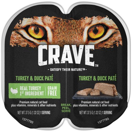 (24 Pack) CRAVE Grain Free Adult High Protein Wet Cat Food Pate Turkey & Duck, 2.6 oz. Twin-Pack Tray