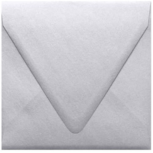 6 1/2 x 6 1/2 Square Contour Flap Envelopes - Crystal White Metallic (250 Qty.)