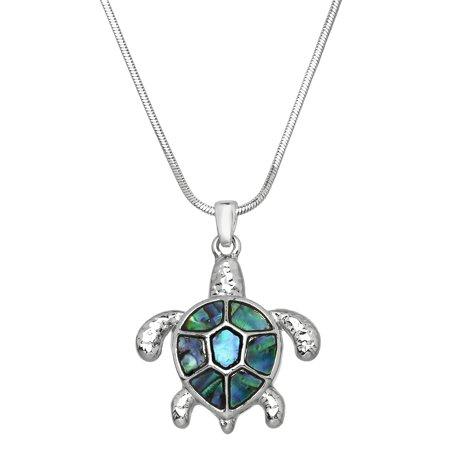 Abalone Turtle Pendant Necklace Rhodium High Polished - Abalone Charm